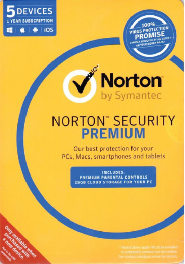 Norton Security Premium 5PC 1 Year Symantec Key North America