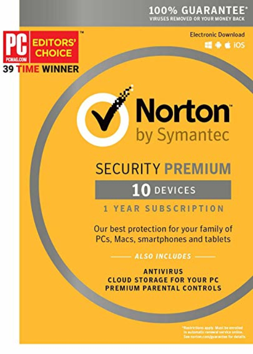 Norton Security Premium 10 PC/25GB Backup Key North America